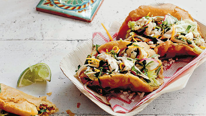 Puffy tacos with Napa chicken salad