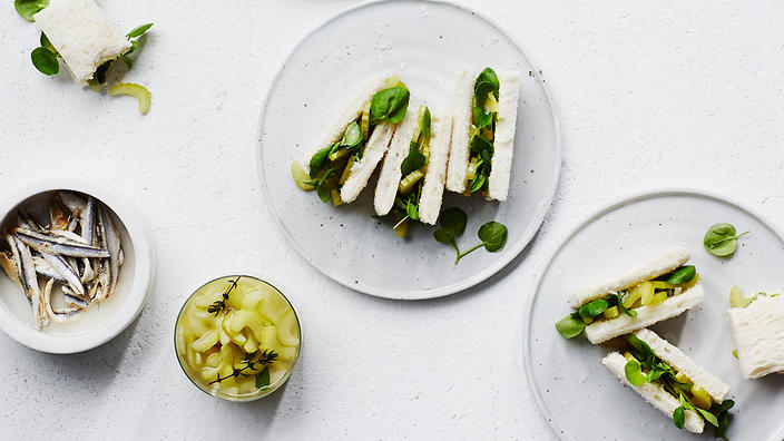 Pickled celery sandwiches