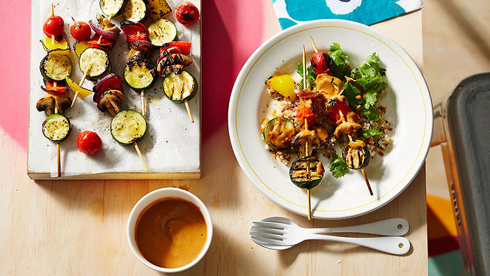 Chargrilled vegetable shish kebabs