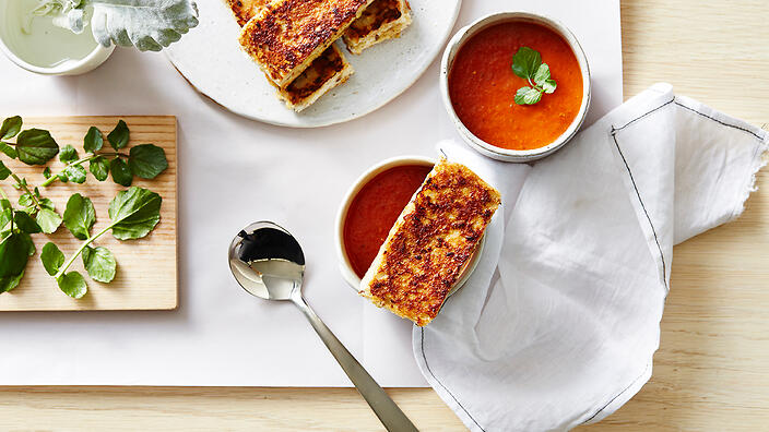 Chipotle roasted tomato soup with grilled cheese fingers ...
