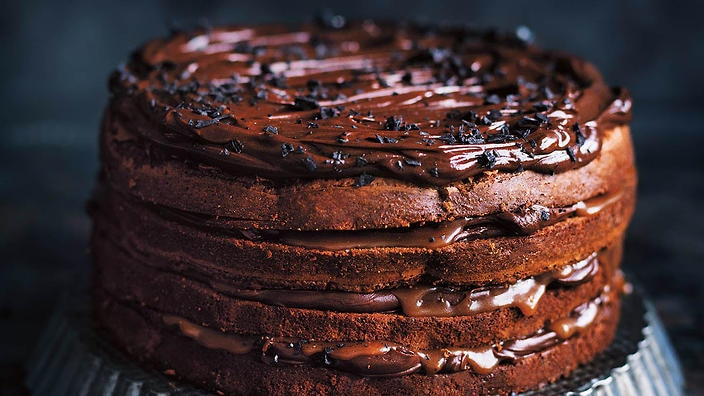 Chocolate fudge and salted caramel layer cake