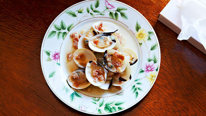 Clams with ham and sherry