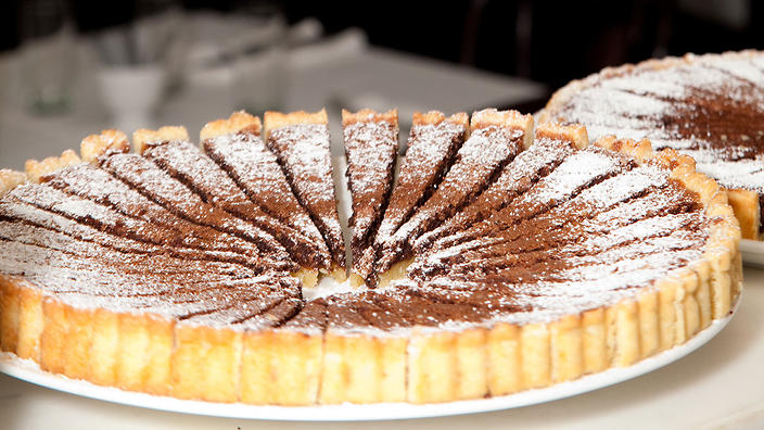 Stefano Manfredi's Chocolate espresso and hazelnut tart is a simple way to add a taste of Italy to your Easter spread.
