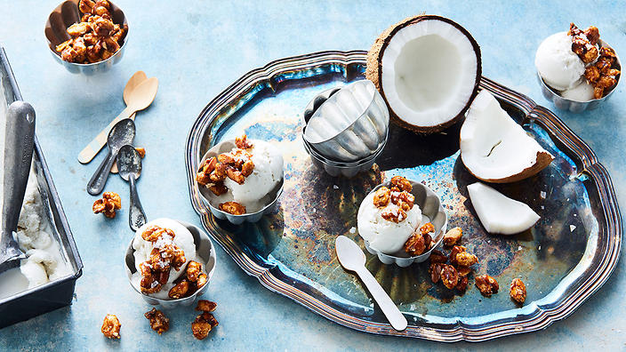 Coconut sorbet with salted candied peanuts