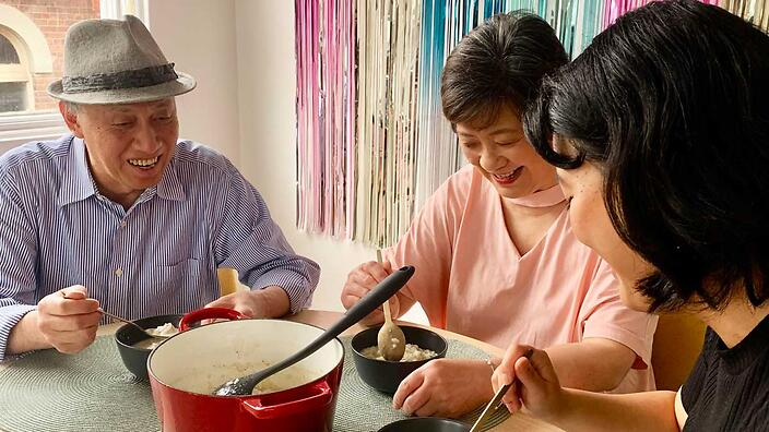 Congee is shared around the family table – and conjures up many family memories.