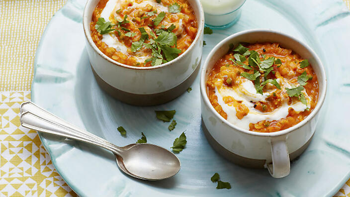 A creamy red lentil and coconut dahl could help boost your iron levels.