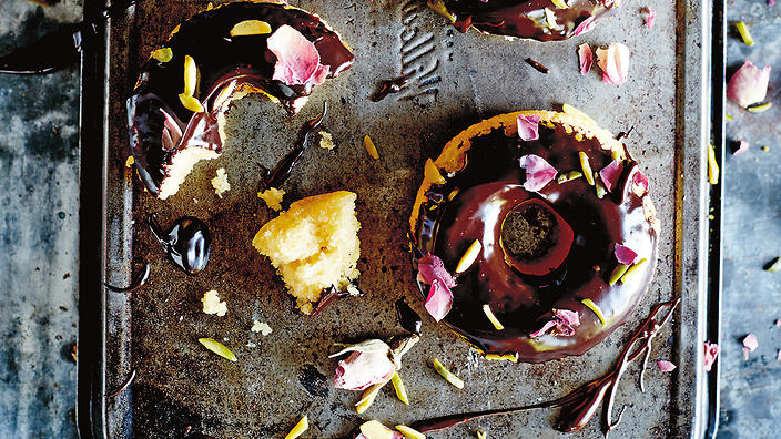 Almond, rosewater and chocolate donut cakes