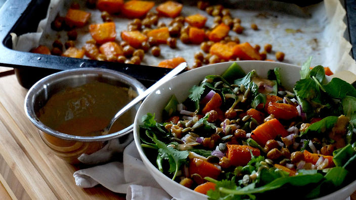 Roasted chickpea and carrot salad with miso tahini dressing