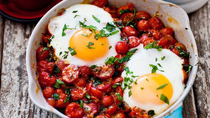 eggs on roasted cherry baked eggs with white beans baked eggs in whole ...