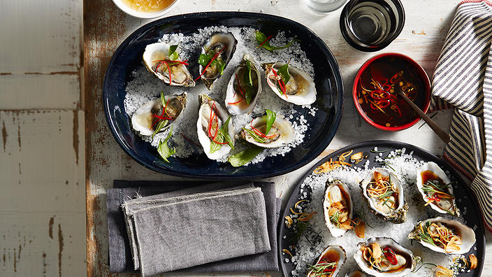 Vietnamese-inspired gin oysters