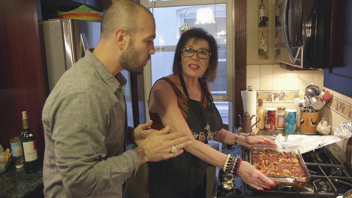 Frank Pinello with his aunt Martha in The Pizza Show