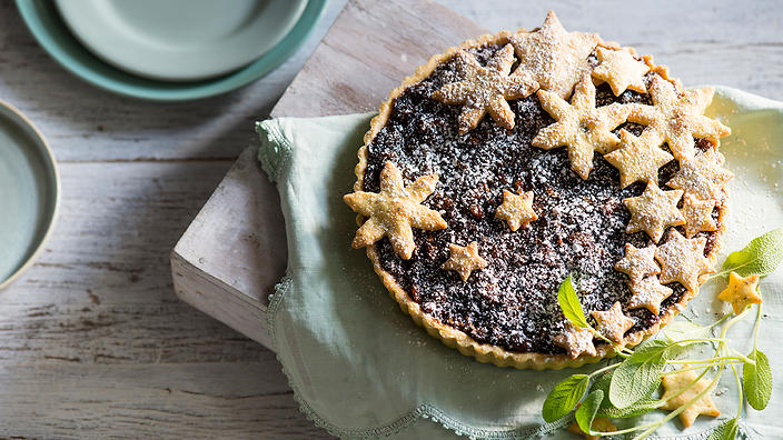 Fruit mince tart with sage pastry