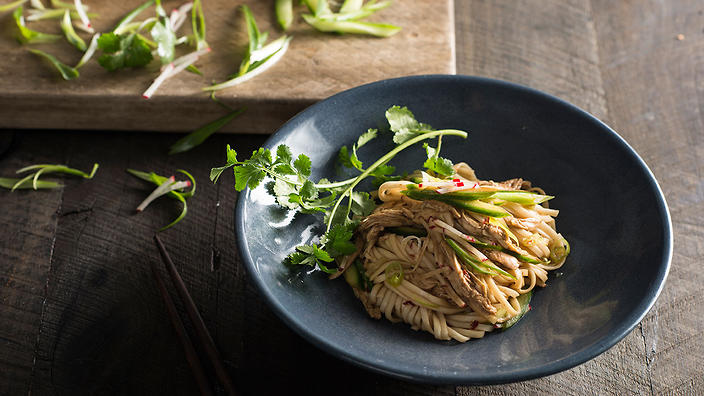 Shredded chicken, cucumber and noodle salad