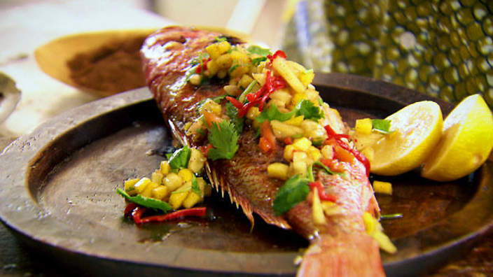 Grilled fish with hot fruit and clove salsa recipe : SBS Food