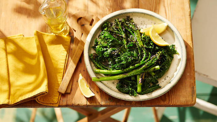 Charcoal grilled broccolini with shallot oil and lemon