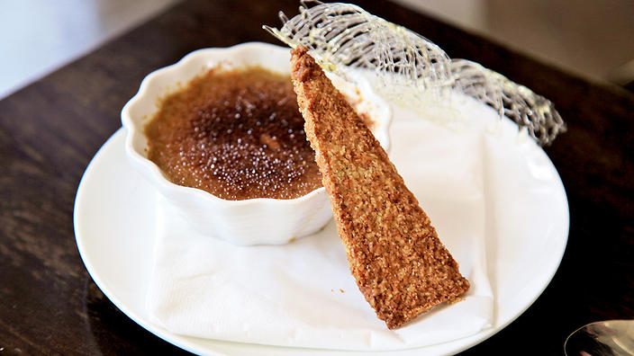 Guinness crème brulee with Irish whiskey snaps