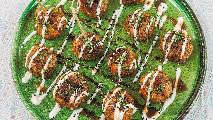 Lamb, apricot and fennel seed lollipops.