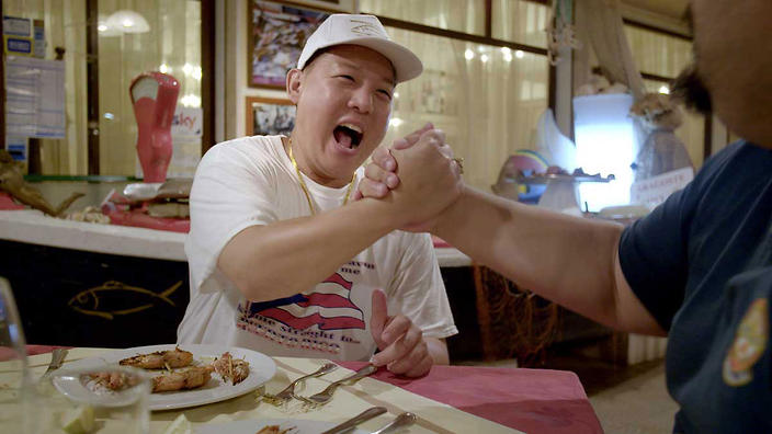 Eddie Huang eating with Paolo Ayeo