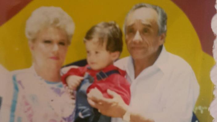 Chef Huerta with his grandmother and grandfather.