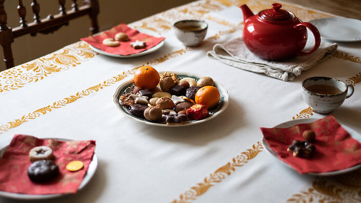 German festive tradition: the bunter teller  (colourful plate)
