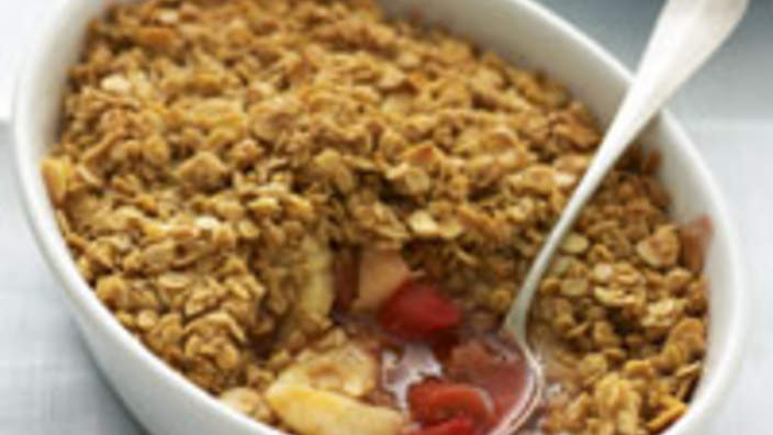 Pear and rhubarb crumble with almond and oat topping ...