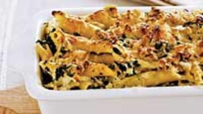 Ricotta and spinach pasta bake recipe : SBS Food