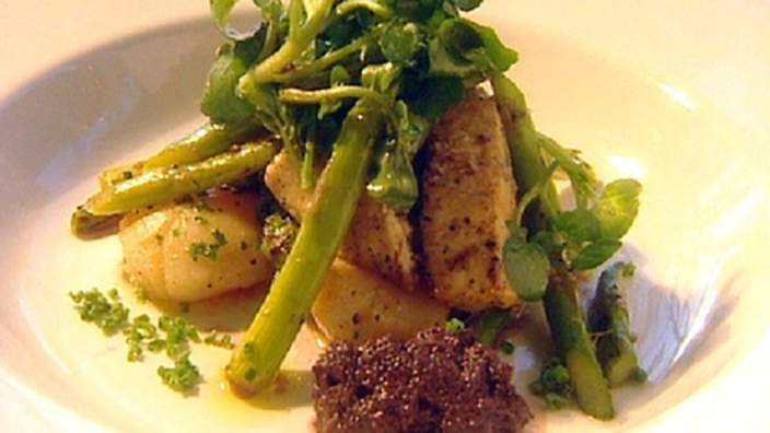 Swordfish and seared scallops with asparagus recipe : SBS Food