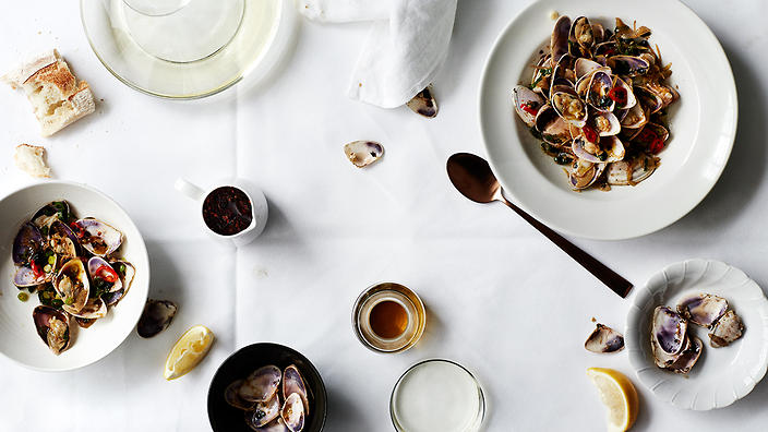 Stir-fried pippies with black bean, chilli and olive oil