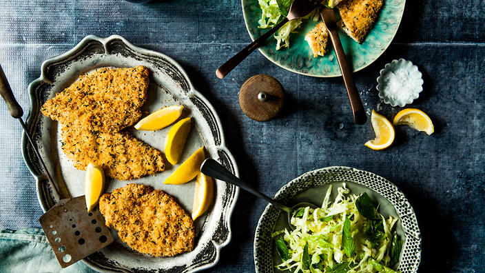 Healthy chicken schnitzel with slaw chicken recipes sbs food lemon and thyme chicken schnitzel with cabbage mint and parmesan slaw forumfinder Gallery