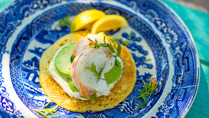 Lobster with buckwheat pikelets and avocado