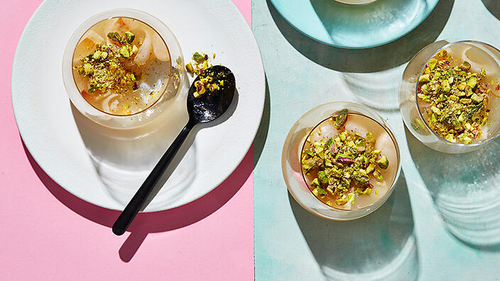 Lychee and rose petal jelly with pistachio