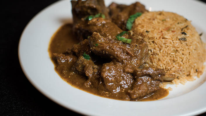 Gippsland boer goat curry is one of the substantials on offer at Madras Brothers.