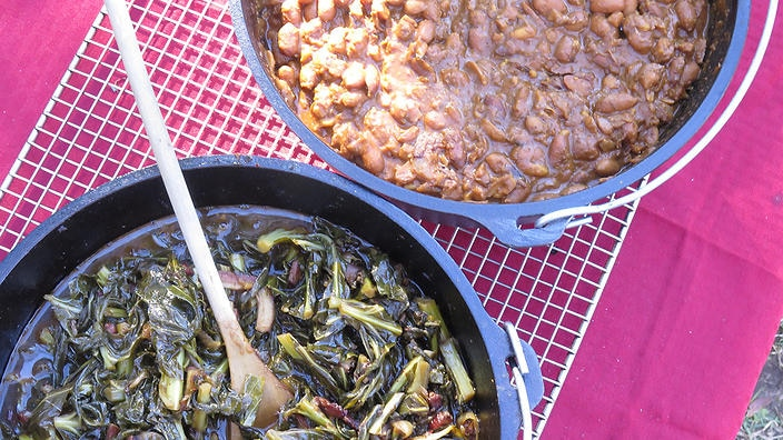 Boiled peanuts and Collard greens from Man Fire Food, season 5