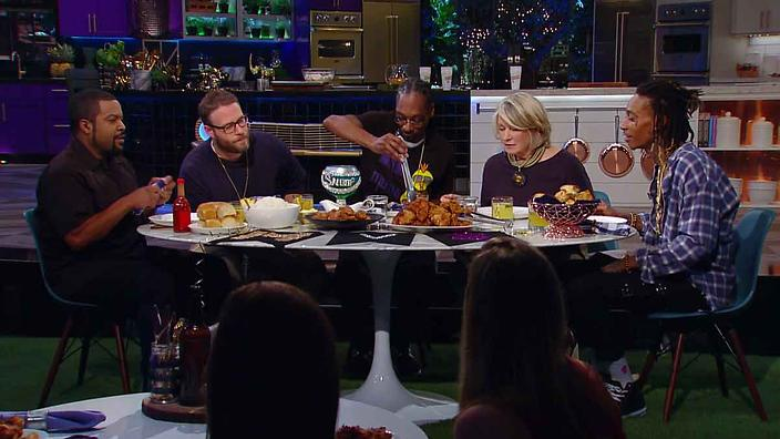 Ice Cube, Seth Rogan, Snoop Dogg, MarthaStewart and Wiz Khalifa, At the table for Martha Stewart and Snoops Potluck Dinner Party