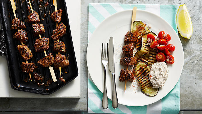 Middle Eastern spiced lamb with walnut, garlic and yoghurt sauce.
