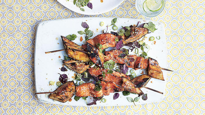 Miso salmon and eggplant skewers