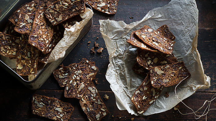 Mixed seed and fig crackers