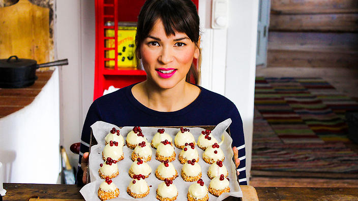 Rachel Khoo with White chocolate and berry coconut mountains