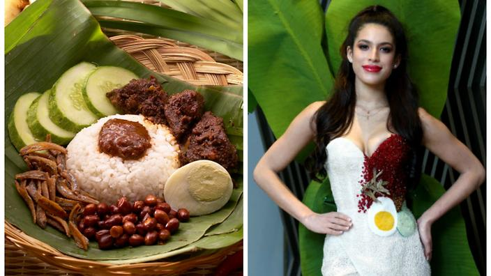 Miss Universe Malaysia spices things up in a nasi lemak dress : SBS Food
