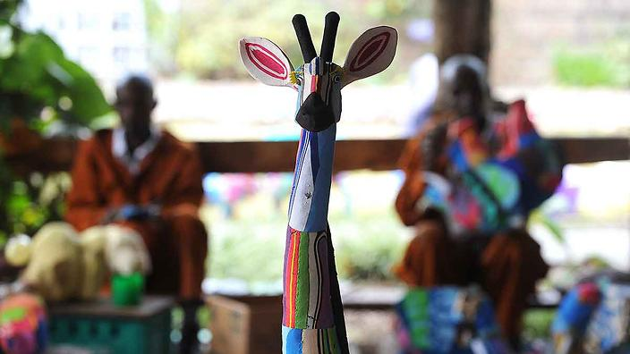 A finished toy giraffe made from discarded flip-flops at the Ocean Sole flip-flop recycling company in Nairobi.