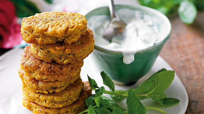 Red onion bhajis with minted raita fritters recipe sbs for Aum indian cuisine