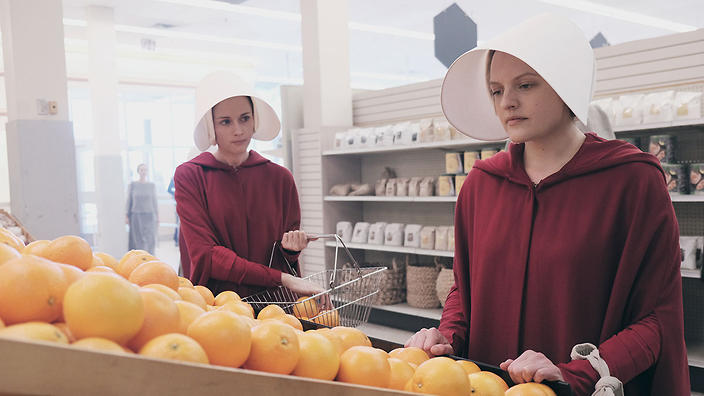 Handmaid's Tale, Offred and Offglen shopping in the Loaves and Fishes grocery store.
