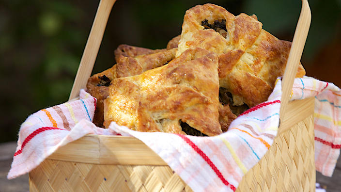 Purple sweet potato and kale pastries