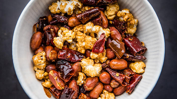 The spicy Chongqing popcorn at Paper Bird
