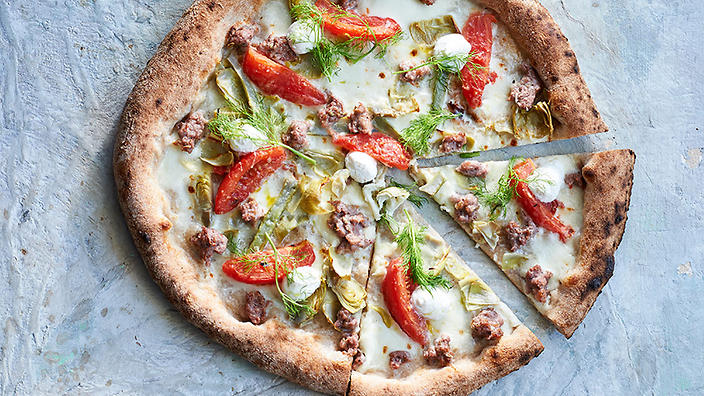 Pork and fennel sausage pizza