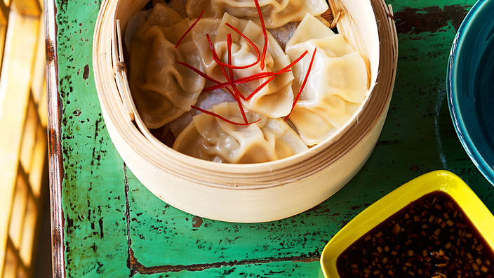 Prawn, ginger and black vinegar dumplings