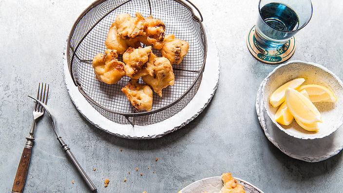Roast cauliflower and anchovy fritters