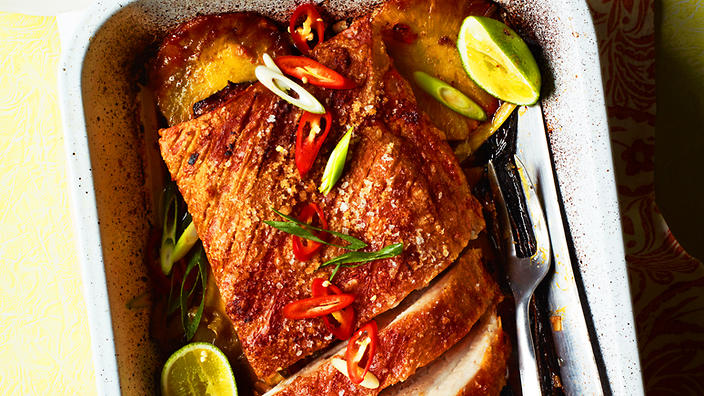 Roasted pork belly with pickled green mango