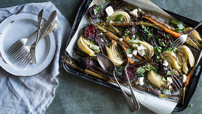 Roasted root vegetables with herbs and ricotta salata