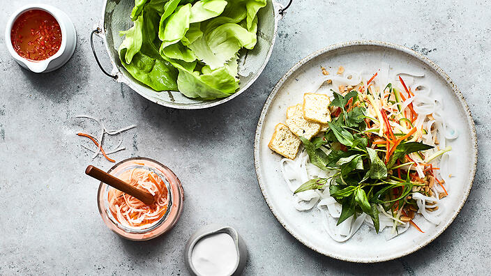 Tapioca noodle and vegetable salad with coconut milk